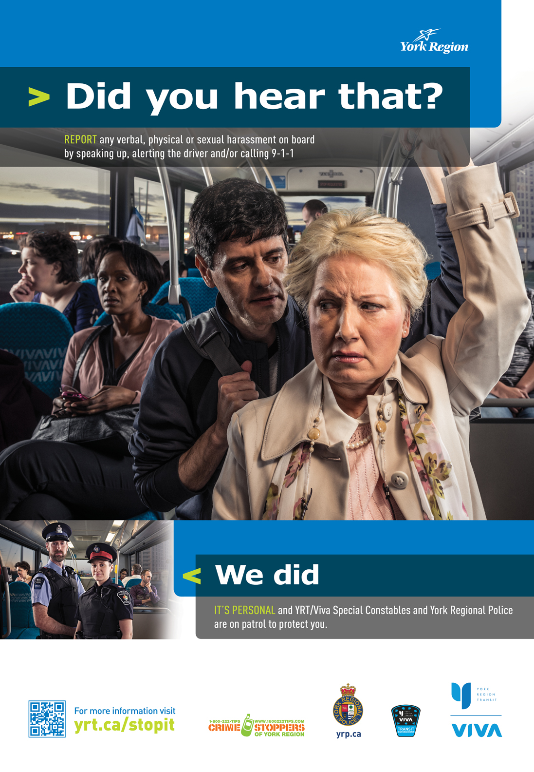 york region transit personal safety campaign poster