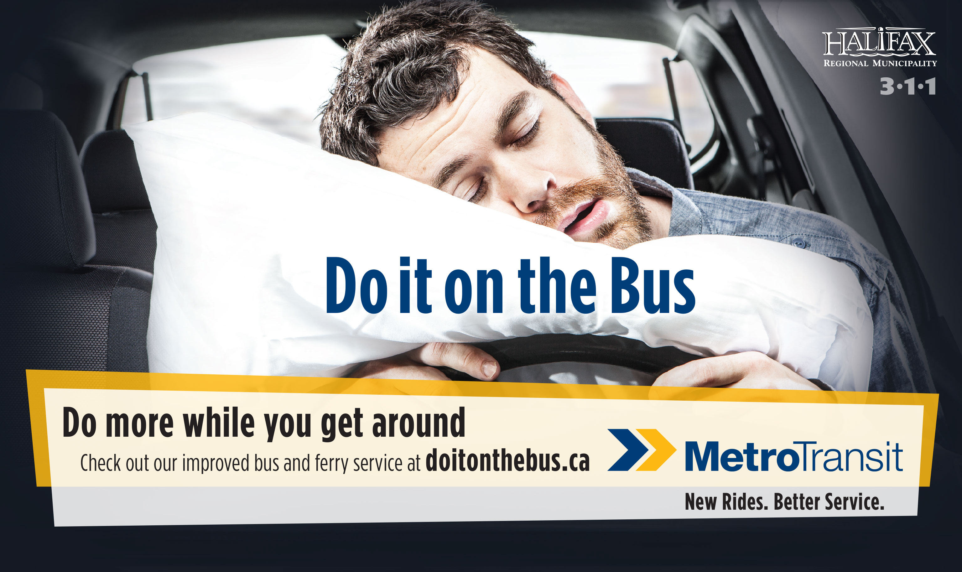 do it on the bus ad - man sleeping behind the wheel