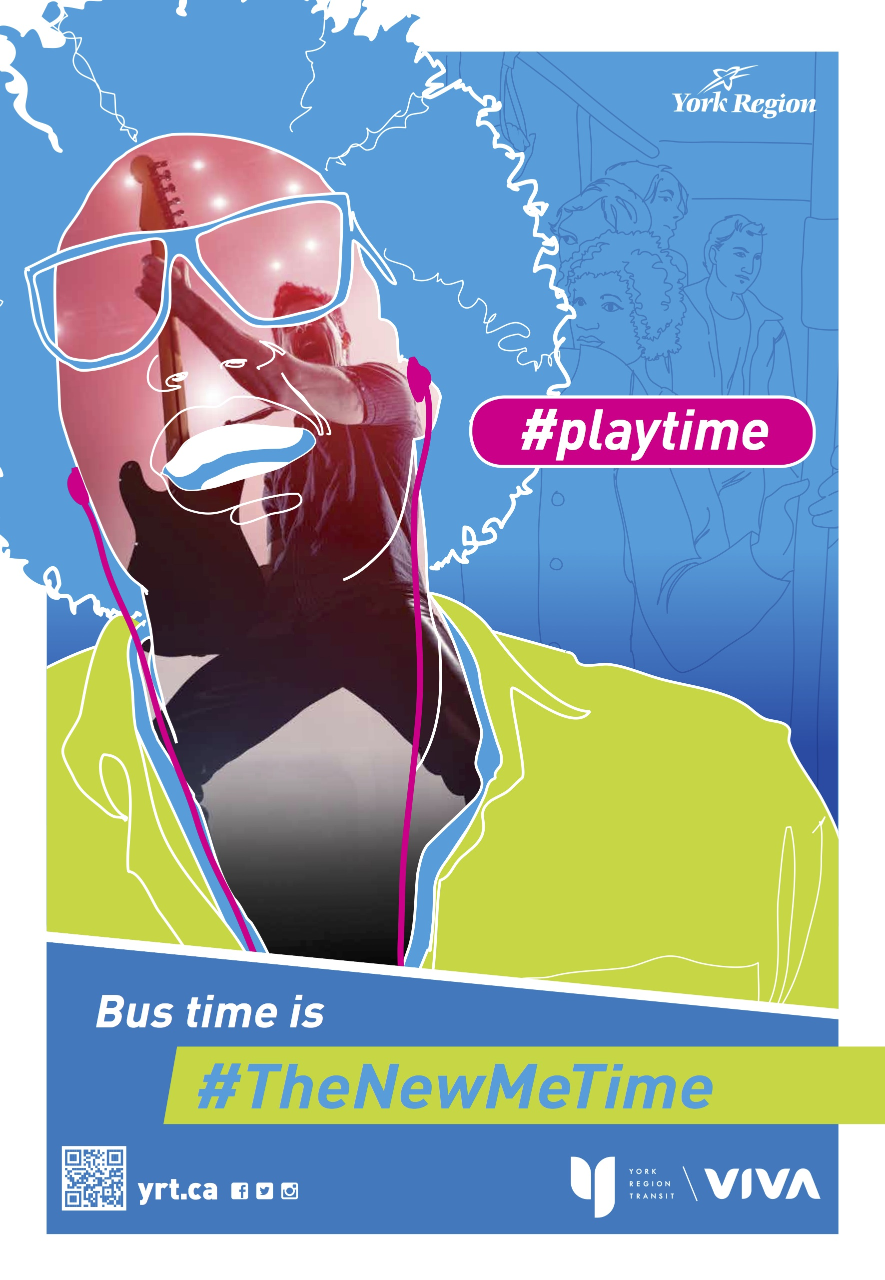 "York Region Transit poster - ""Playtime: Bus time is the new me time"""