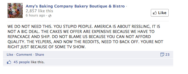 Amy's Baking Company's reaction to negative feedback