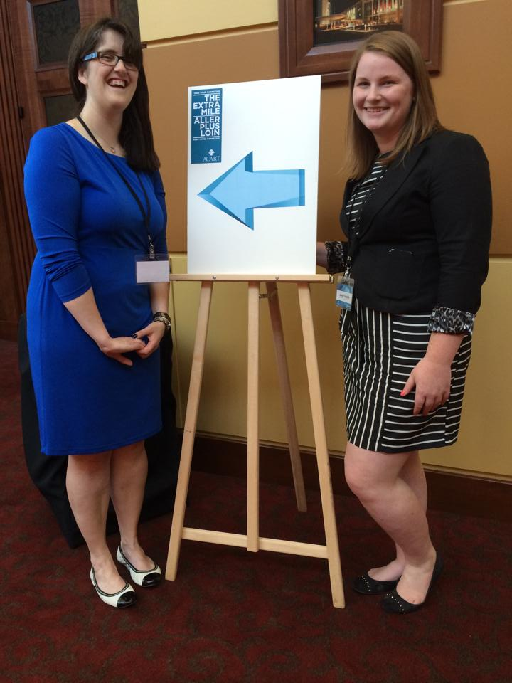 "Kati and Aimee at the ""take your marketing the extra mile"" conference"