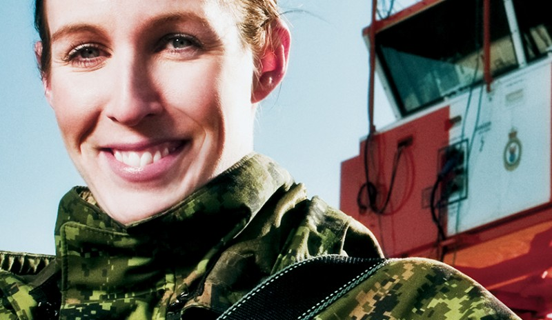 Image of a female from the Canadian Armed Forces. This image was part of the Women in the Forces public security marketing campaign.
