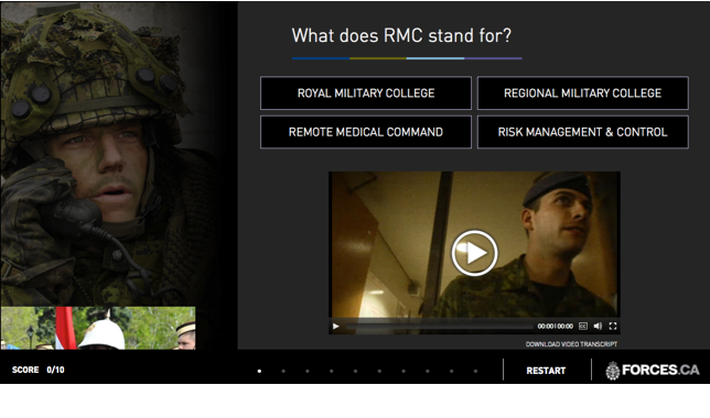 Question from the interactive quiz reads: What does RMC stand for? a) Royal Military College B) Regional Military College c) Remote Medical Command d) Risk Management & Control