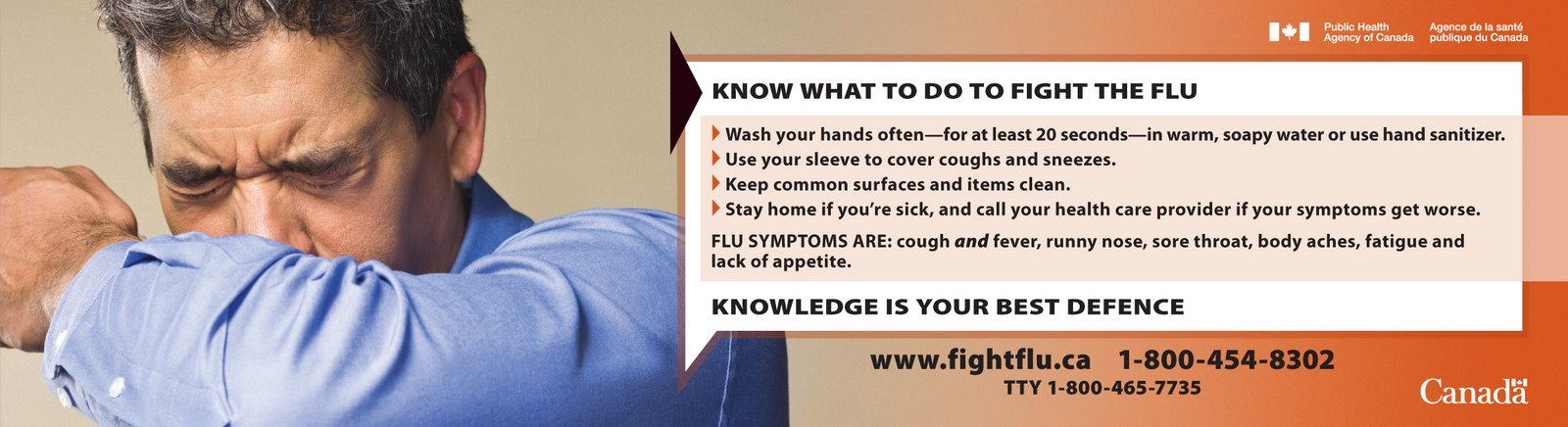 Our team of health marketers created this Fight Flu bus interior ad for PHAC as part of a healthcare marketing campaign. Headline reads: Know what to do to fight the flu