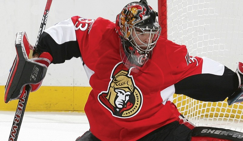 Goalie for the Ottawa Senators. Pic is an image from The Guarantee, a sports marketing campaign we created for the OSHC