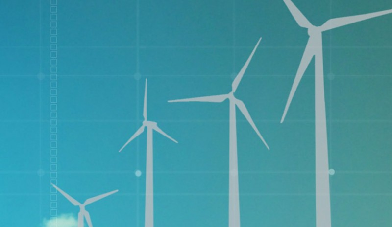 White wind turbines on a blue background, representing Brookfield Renewable, showcasing our energy marketing services