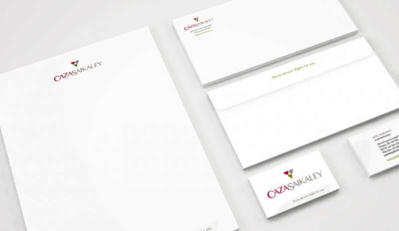 Brand identity pieces for CazaSaikaley, legal services marketing, law firm marketing