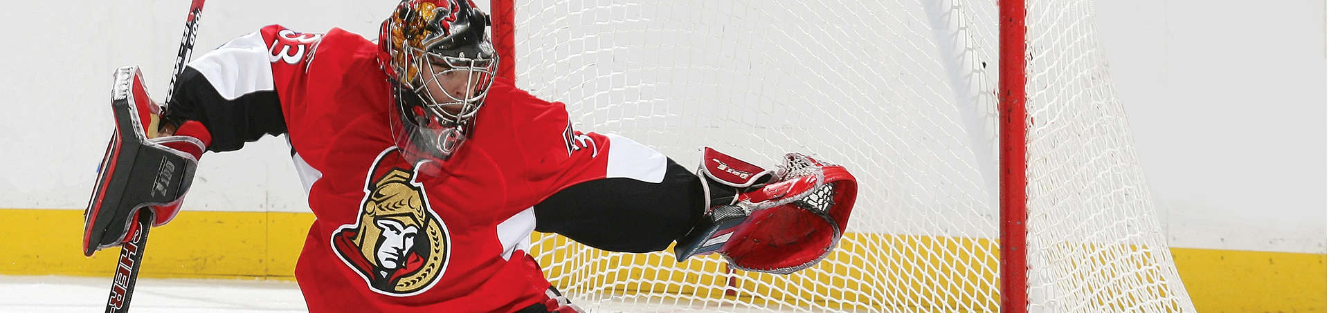 Image of the goalie for the Ottawa Senators. The Ottawa Senators Hockey Club is one of our clients that we have provided consumer marketing services for.