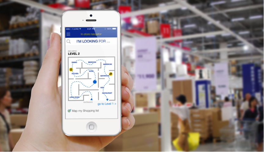 Bluetooth beacon technology example, map of how to get around store
