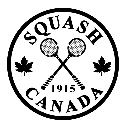 Squash Canada black and white centennial logo