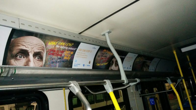 York Region Transit anti-harassment campaign: interior bus cards