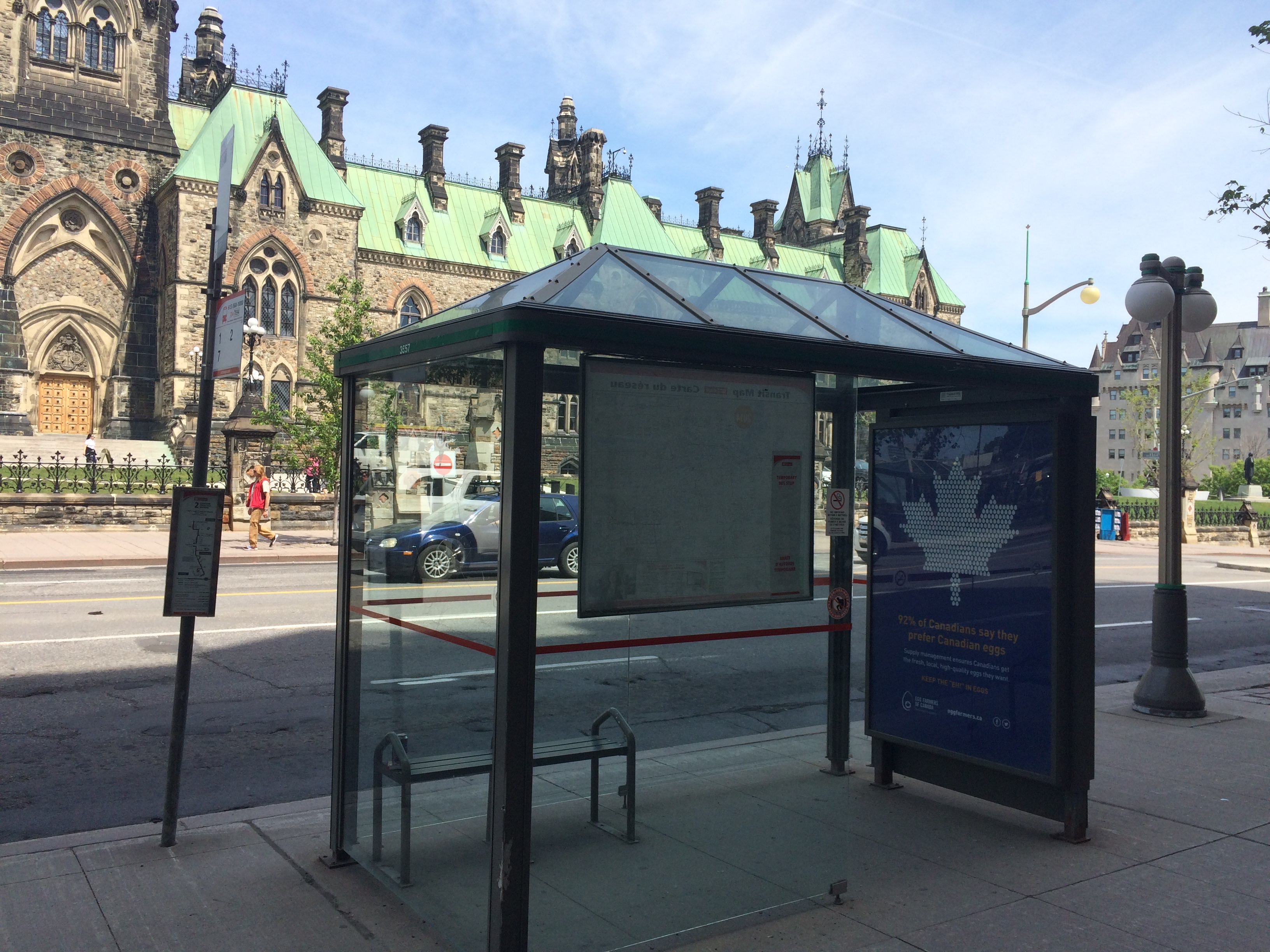 Egg Farmers of Canada: Supply Management ad in a bus shelter across from Parliament in Ottawa #keeptheehineggs