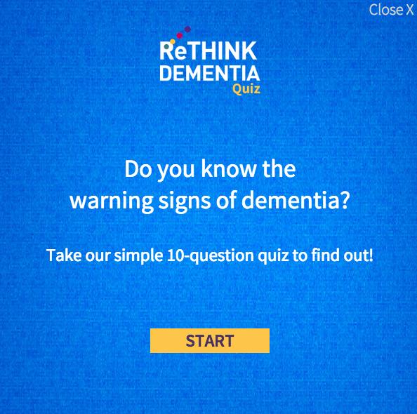 First slide of Rethink Dementia quiz