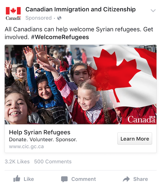 Mobile Facebook ad for Welcome refugees