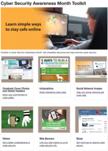 Screenshot of Cyber Security Awareness Month Toolkit