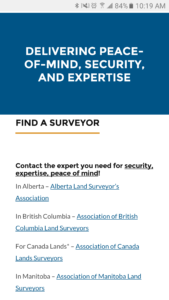 Professional Surveyors Canada mobile site