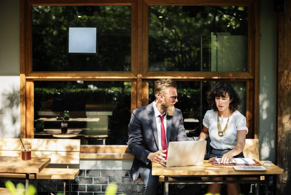business meeting coffee patio
