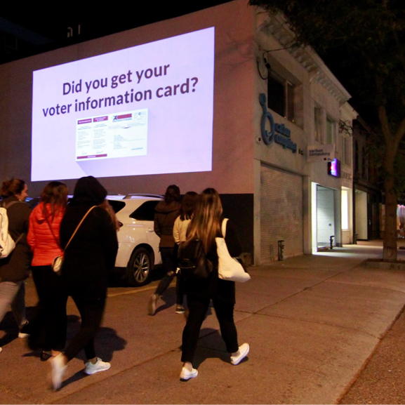 Election Canada - Ad projection on the wall